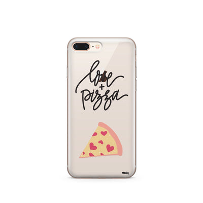 Love and Pizza - Clear Case Cover - Milkyway Cases -  iPhone - Samsung - Clear Cut Silicone Phone Case Cover