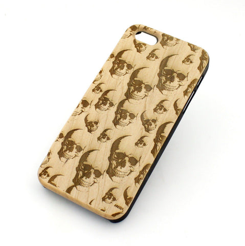 W05 Wood Case for APPLE IPHONE 5 5S Cover Seamless SKULLS sugar skeleton
