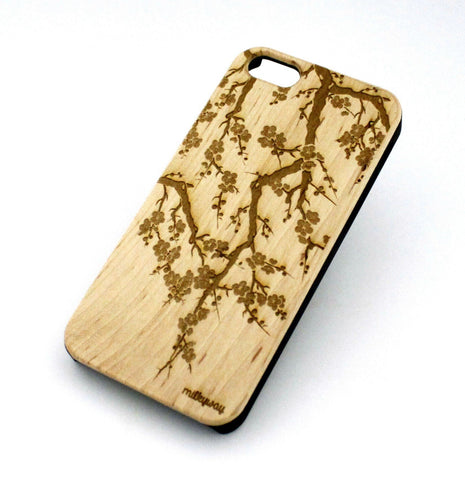 W131 Wood Case for APPLE IPHONE 4 4S Cover - CHERRY BLOSSOM