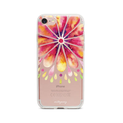 Mandala Drops - Clear TPU Case Cover Milkyway iPhone Samsung Clear Cute Silicone 8 Plus 7 X Cover