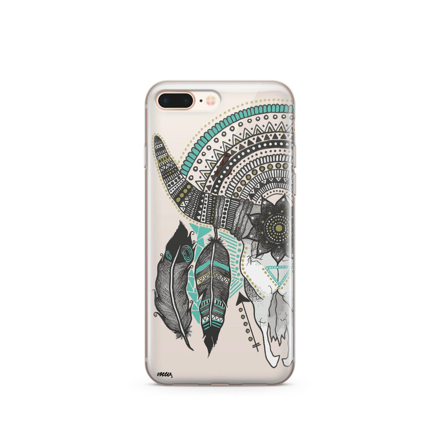 Feathered Mandala Animal Skull - Clear TPU Case Cover - Milkyway Cases -  iPhone - Samsung - Clear Cut Silicone Phone Case Cover
