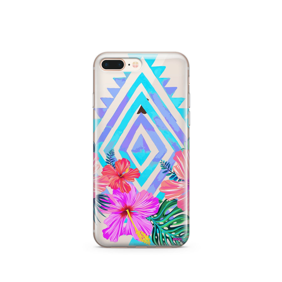 Navajo Hibiscus - Clear TPU Case Cover - Milkyway Cases -  iPhone - Samsung - Clear Cut Silicone Phone Case Cover