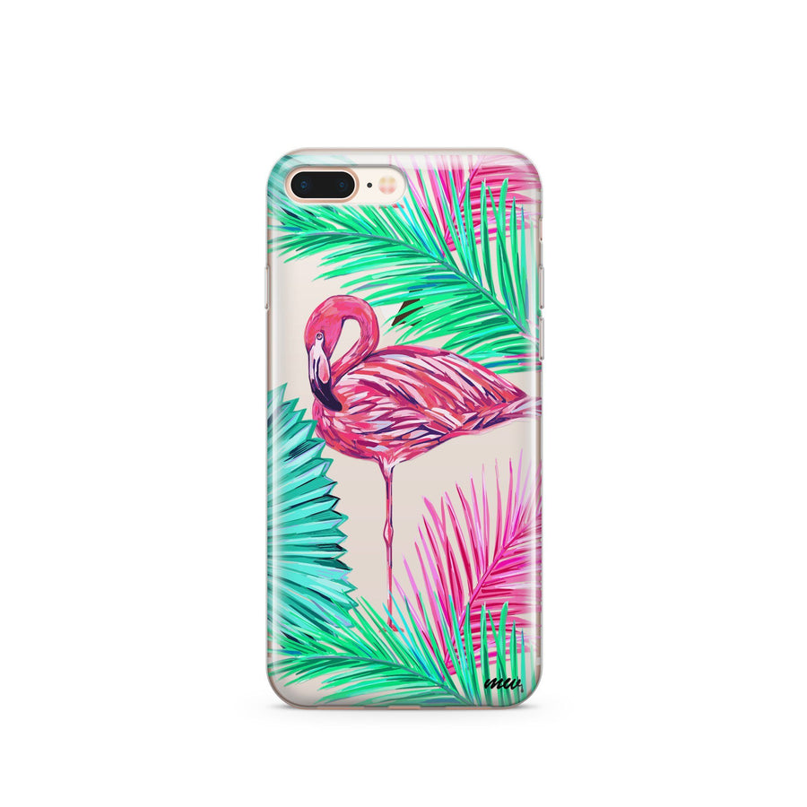 Neon Flamingo - Clear TPU Case Cover - Milkyway Cases -  iPhone - Samsung - Clear Cut Silicone Phone Case Cover