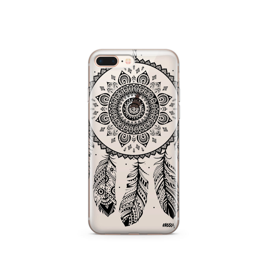 Black Henna Ojibwe Dreamcatcher - Clear TPU Case Cover - Milkyway Cases -  iPhone - Samsung - Clear Cut Silicone Phone Case Cover