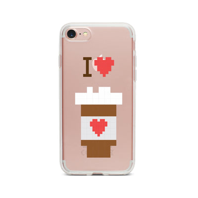 I Love Coffee 8-Bit Pixel - Clear TPU Case Cover - Milkyway Cases -  iPhone - Samsung - Clear Cut Silicone Phone Case Cover