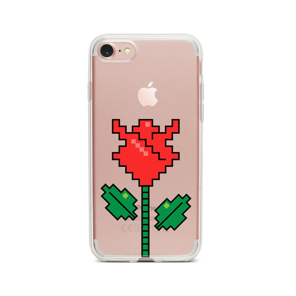 Rose 8-Bit Pixel - Clear TPU Case Cover - Milkyway Cases -  iPhone - Samsung - Clear Cut Silicone Phone Case Cover