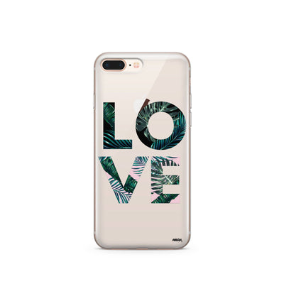 Palm Tree Love - Clear TPU Case Cover - Milkyway Cases -  iPhone - Samsung - Clear Cut Silicone Phone Case Cover