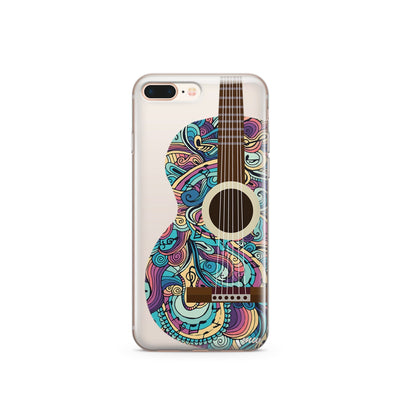 Henna Abstract Guitar - Clear TPU Case Cover Milkyway iPhone Samsung Clear Cute Silicone 8 Plus 7 X Cover