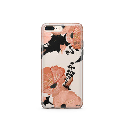 Peachy Floral - Clear TPU Case Cover - Milkyway Cases -  iPhone - Samsung - Clear Cut Silicone Phone Case Cover