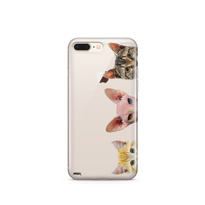 Peeking Cats - Clear TPU Case Cover - Milkyway Cases -  iPhone - Samsung - Clear Cut Silicone Phone Case Cover