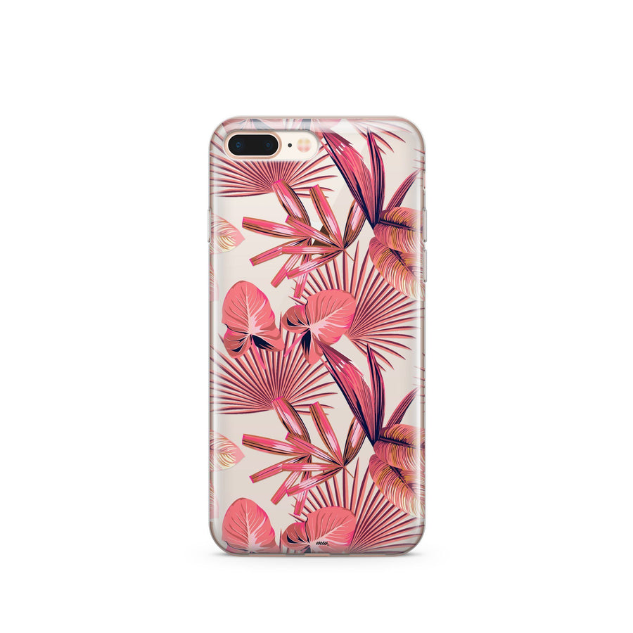 Pink Palm Leaves - Clear Case Cover - Milkyway Cases -  iPhone - Samsung - Clear Cut Silicone Phone Case Cover