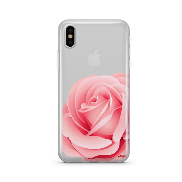 Pink Rose - Clear TPU Case Cover