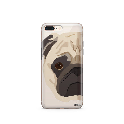 The Pug Case - Clear TPU Case Cover - Milkyway Cases -  iPhone - Samsung - Clear Cut Silicone Phone Case Cover