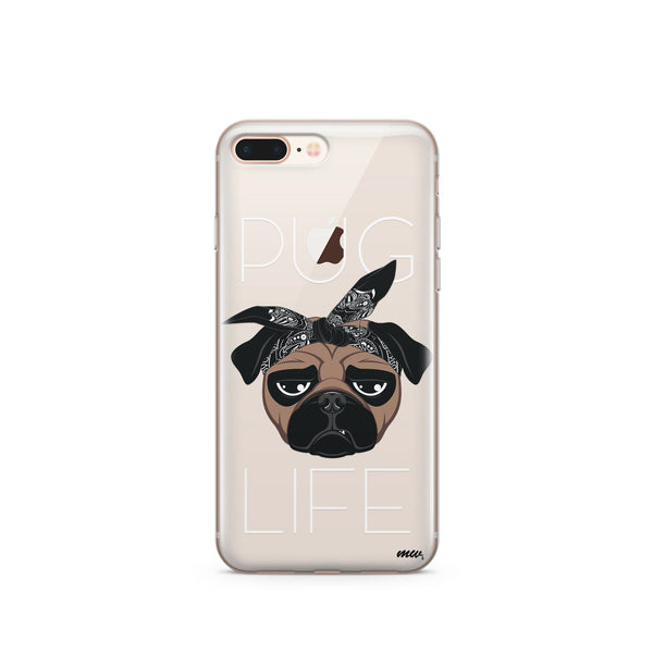 Pug Life - Clear Case Cover - Milkyway Cases -  iPhone - Samsung - Clear Cut Silicone Phone Case Cover