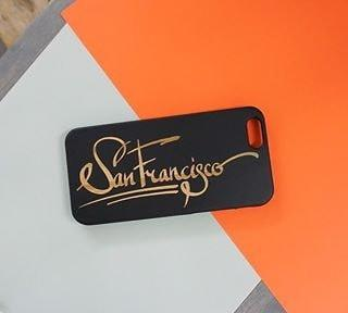 Black Bamboo Wood Case - San Francisco Script