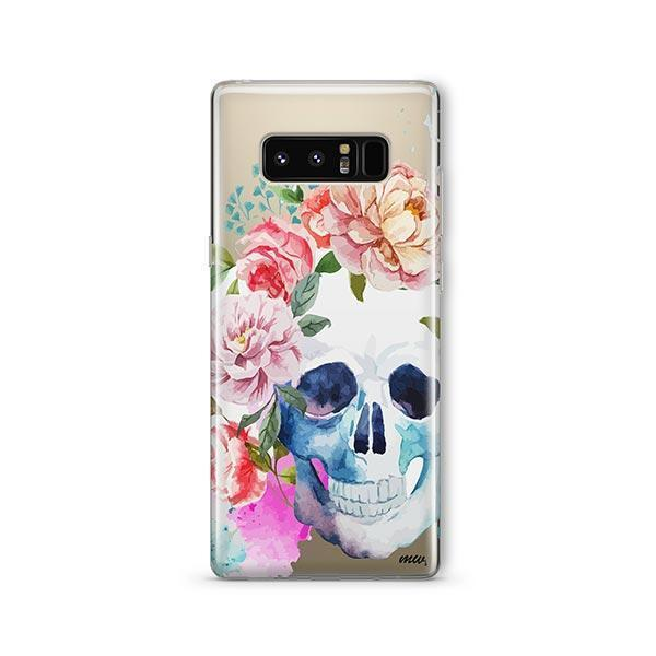 Colored Floral Skull - Samsung Galaxy Note 8 Case Clear