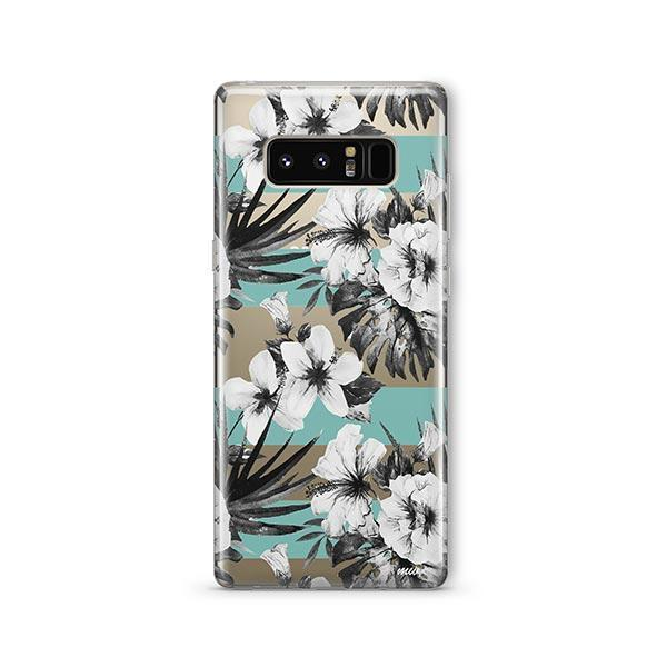 Black and White Floral - Samsung Galaxy Note 8 Case Clear