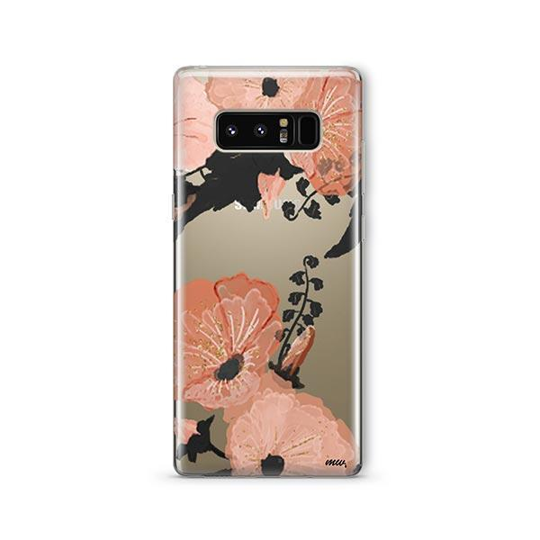 Peachy Floral - Samsung Galaxy Note 8 Case Clear
