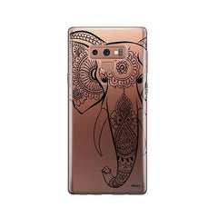 Black Tribal Elephant -  Samsung Galaxy Note 9 Case Clear