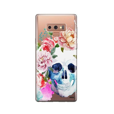 Colored Floral Skull - Samsung Clear Case