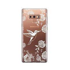 White Vintage Hummingbird -  Samsung Galaxy Note 9 Case Clear