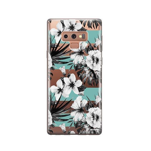 Black and White Floral - Samsung Galaxy Note 9 Case Clear