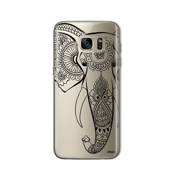 Black Tribal Elephant -  Samsung Galaxy S7 Case Clear