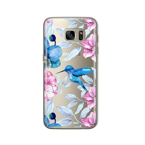 Colored Vintage Hummingbird -  Samsung Galaxy S7 Case Clear