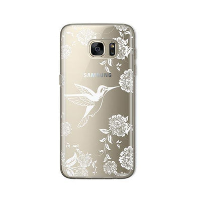 White Vintage Hummingbird - Samsung Clear Case