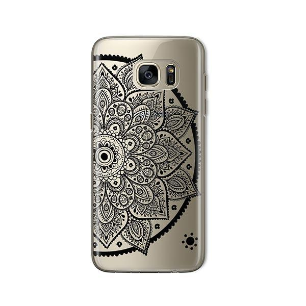 Black Henna Lotus Mandala - Samsung Galaxy S7 Case Clear