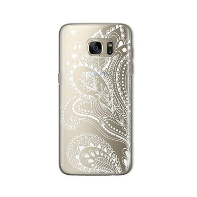 White Floral Paisley - Samsung Clear Case