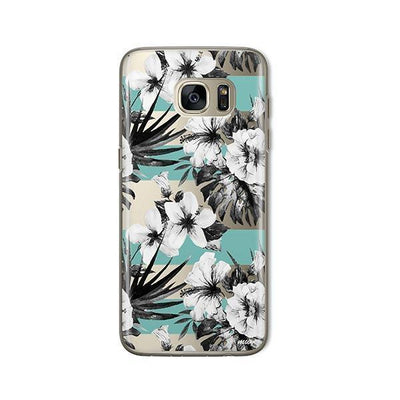 Black and White Floral - Samsung Clear Case