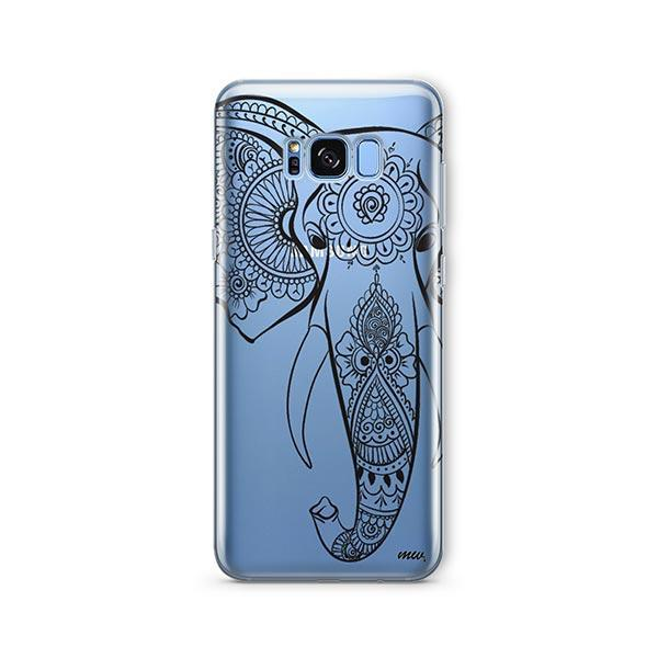 Black Tribal Elephant -  Samsung Galaxy S8 Plus Case Clear