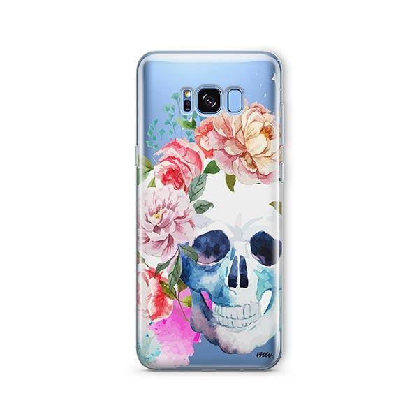 Colored Floral Skull - Samsung Galaxy S8 Plus Case Clear