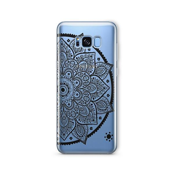 Black Henna Lotus Mandala - Samsung Galaxy S7 Edge Case Clear