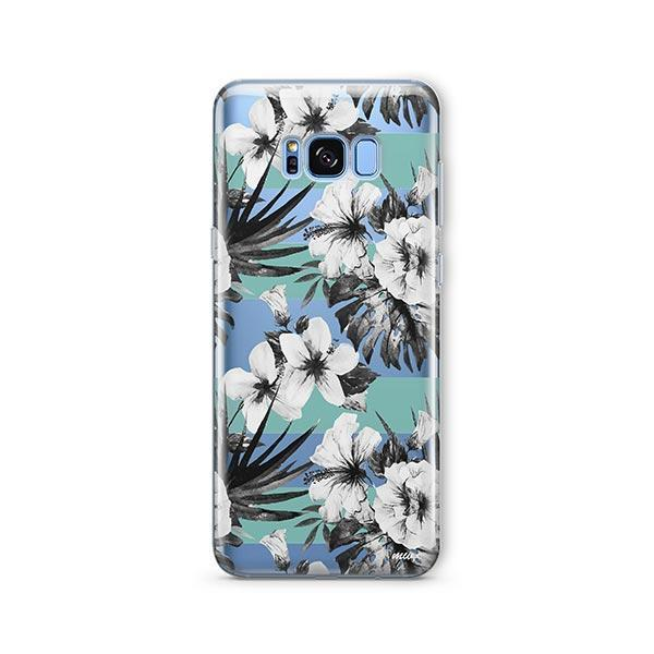 Black and White Floral - Samsung Galaxy S7 Edge Case Clear