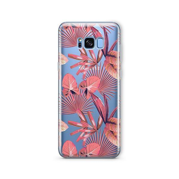 Pink Palm Leaves - Samsung Galaxy S8 Case Clear