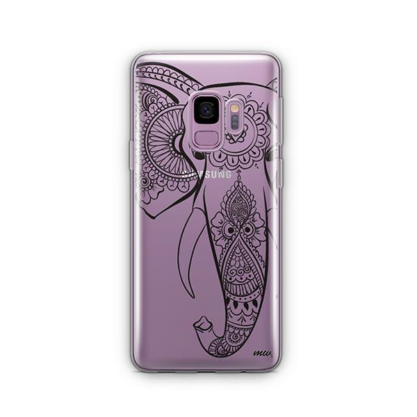 Black Tribal Elephant -  Samsung Galaxy S9 Case Clear