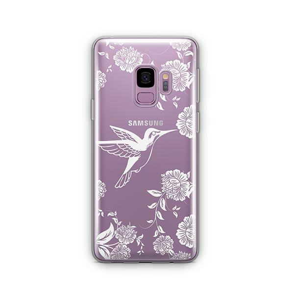 White Vintage Hummingbird -  Samsung Galaxy S9 Case Clear