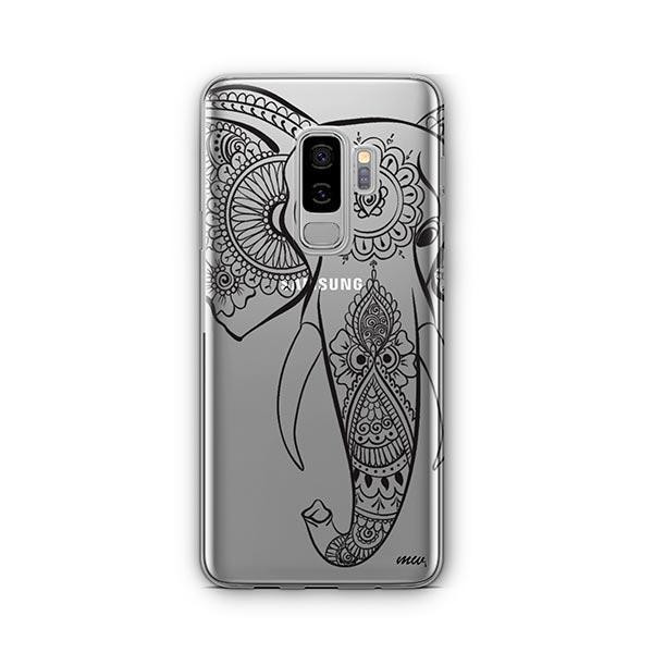 Black Tribal Elephant -  Samsung Galaxy S9 Plus Case Clear