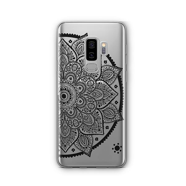 Black Henna Lotus Mandala - Samsung Galaxy S9 Plus Case Clear