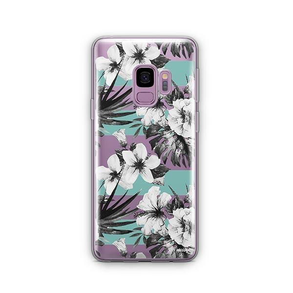 Black and White Floral - Samsung Galaxy S9 Case Clear