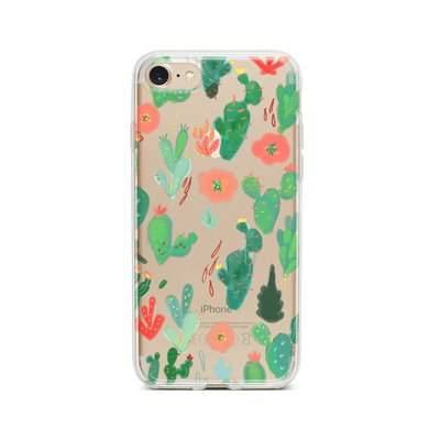 Watercolor Cactus - Clear TPU Case Cover Milkyway iPhone Samsung Clear Cute Silicone 8 Plus 7 X Cover