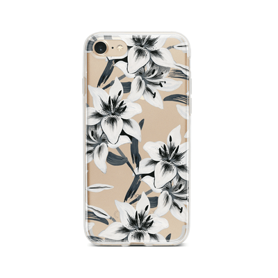 Watercolor Lilies - Clear TPU Case Cover Milkyway iPhone Samsung Clear Cute Silicone 8 Plus 7 X Cover