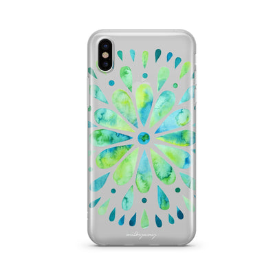 Watercolor Mandala - Clear TPU Case Cover - Milkyway Cases -  iPhone - Samsung - Clear Cut Silicone Phone Case Cover