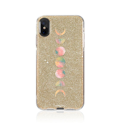 Watercolor Moon Phases Glitter Hybrid Case
