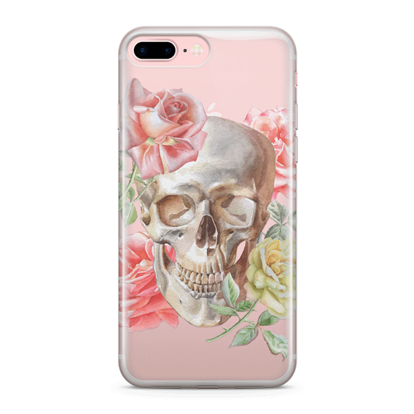 Watercolor Skull - Clear TPU Case Cover Milkyway iPhone Samsung Clear Cute Silicone 8 Plus 7 X Cover