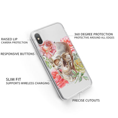 Henna Floral Skull iPhone X Case Clear