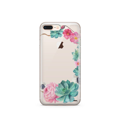 Watercolor Succulent - Clear TPU Case Cover - Milkyway Cases -  iPhone - Samsung - Clear Cut Silicone Phone Case Cover