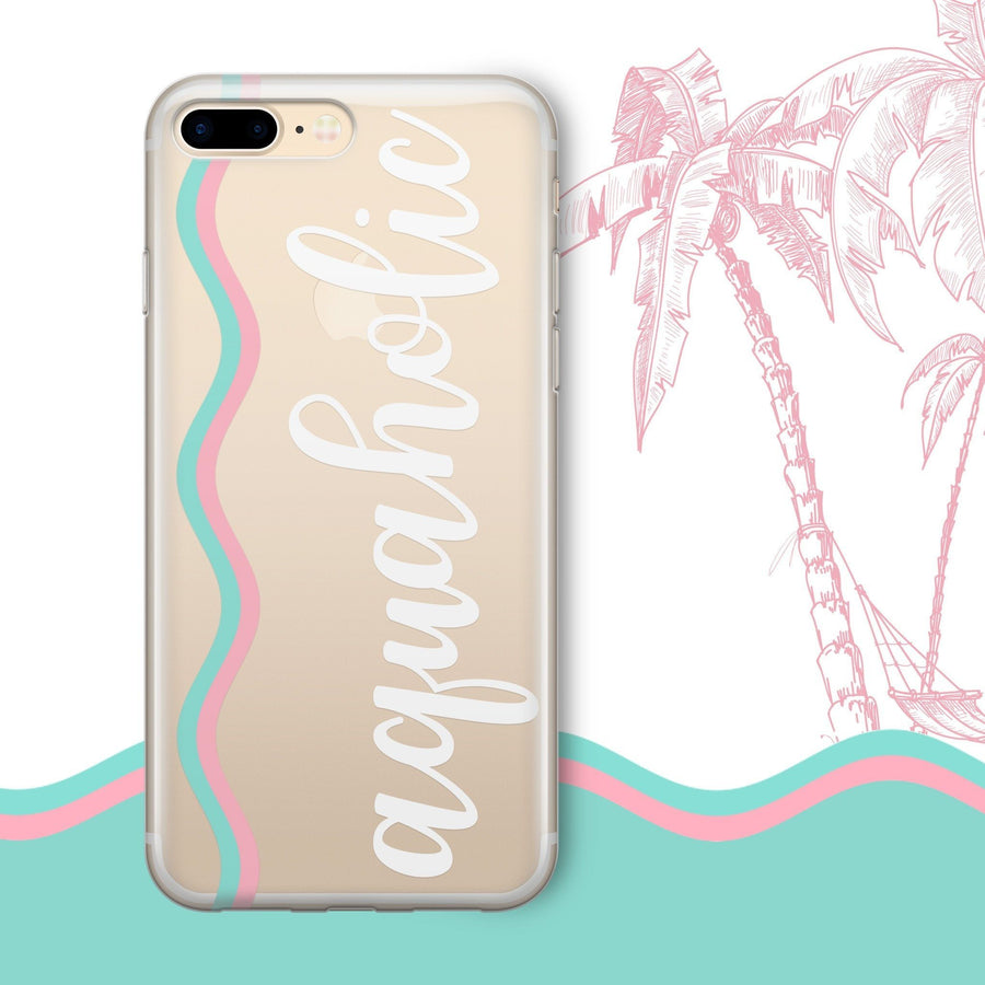 Aquaholic' - Clear Case Cover - Milkyway Cases -  iPhone - Samsung - Clear Cut Silicone Phone Case Cover